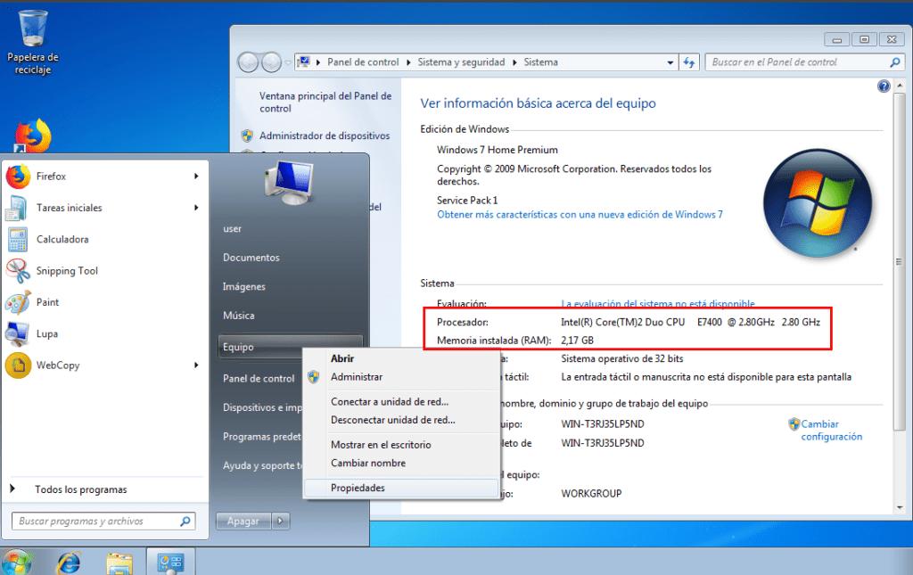 equipo en Windows 7
